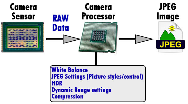 Raw to JPEG conversion process