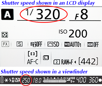 Viewing the shutter speed in the LCD