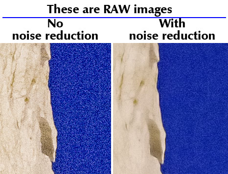 With and without Noise Reduction